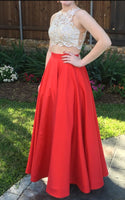 Two Piece Prom Dresses,Red Evening Gowns S6600