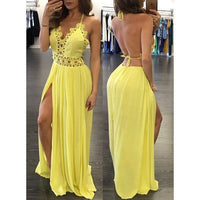 Yellow prom dress , open back prom dress ,long prom dress S6599