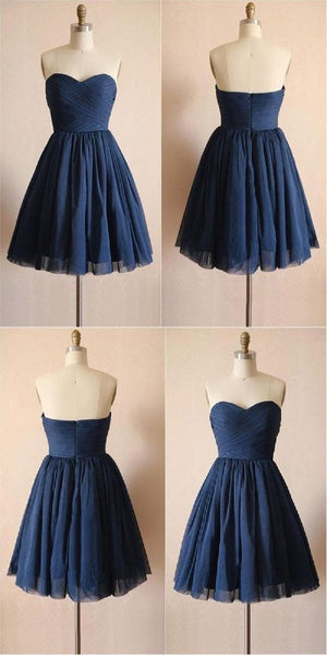 Short Strapless Homecoming Dresses,Navy  Blue Tulle  Homecoming  Dresses S659