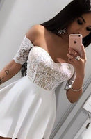 A-line Homecoming Dresses,Lace Homecoming Dresses,Off Shoulder Homecoming Dresses,Short Prom Dresses,Party Dresses S65