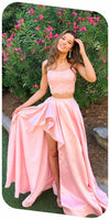 Dusty Pink Spaghetti Straps Lace Top Two Piece Long Prom Dress S6602