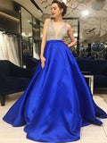 Sexy Deep V-Neck Two Straps Royal Blue Long Prom Dresses With Beading  S6614