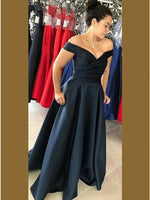 A-Line Off-the-Shoulder Navy Blue Satin Prom Dress with Pockets S6619