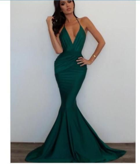 Green Mermaid Prom Dresses Sexy Deep V Neck Sleeveless Evening Dresses Party Gowns   S6632