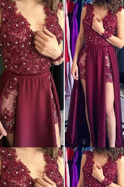 Charming Dark Burgundy Appliques Evening Dress, Sexy Split Slit Long Prom Dresses  S6633
