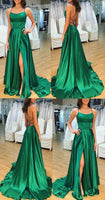 Spaghetti Straps Open Back Prom Dress Satin Formal Evening Gown S11805