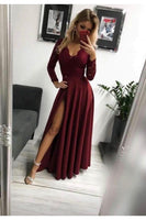 Burgundy Lace Long Sleeves Chiffon Prom Dress,Side Slit Evening Formal Gown S6693