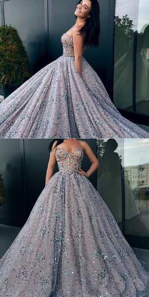 Charming Shinning Sweetheart Long Ball Gown Prom Dress with Rhinestone S11717