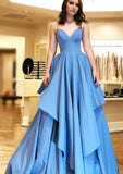 Blue Prom Dresses Satin Spaghetti Straps Long Evening Gowns For Women  S6865