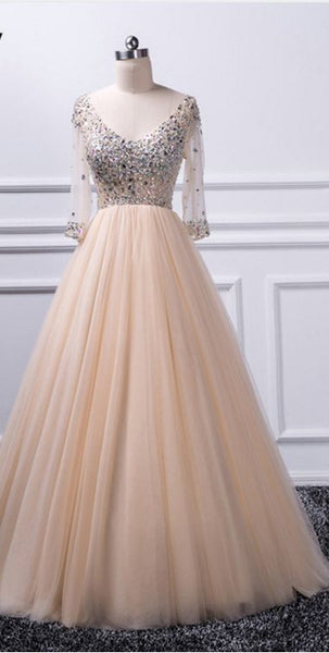 Charming A-line V-neck beaded top Tulle Prom Dress S6920