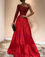 Elegant Mermaid Appliques Prom Dresses A-Line One-Shoulder Red Evening Gowns  S7220