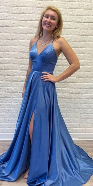 Fashion V neck A-line Blue Long Prom Dress, Sexy Evening Party Gown S6833