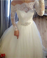 Charming Lace Prom Dresses, Full Sleeve Wedding Gown S11374