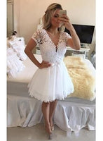 White Short Homecoming Dresses, Short Sleeves V Neck Lace Beaded Top S11874