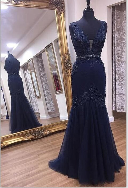 Charming V neck Navy Appliques Mermaid Prom Dress S11433