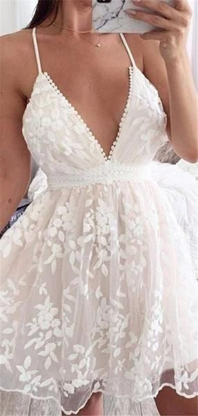 A-line V-neck Sexy Lace Appliques Short Homecoming Dresses S12203