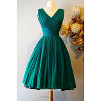 Short Vintage Sleeveless V-neck Emerald Green Homecoming Dress  S11073