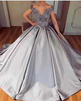 Ball Gown Lace Appliques Dress, V Neckline Silver Satin Prom Dress  S7219