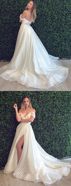 Off Shoulder Simple A-Line Slit Backless Lace Cheap Prom Dresses S10950