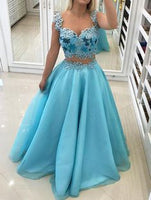 Sky blue two pieces sweetheart beaded floor length spring prom dresses  S11952
