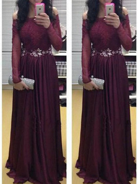 A-line Off-the-shoulder Floor-length Chiffon Evening Dress Prom Dresses S11040