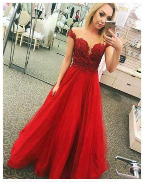Red Prom Dresses,Applique Prom Gown,Tulle Prom Dress S6771