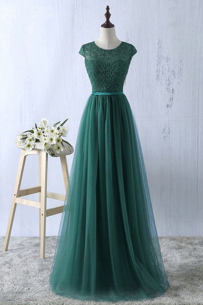 Green tulle lace top round neck long evening dresses ,simple formal dress S6796