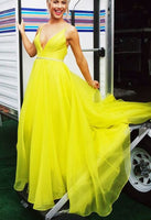 Sexy Deep V neck Yellow Tulle Long Prom Dress, Sleeveless Evening Party Dress S7010