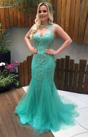 Grgeous Jewel Keyhole Open Back Prom Dresses Long Mermaid Sweep Train Turquoise Sexy Party Dresses  S11511