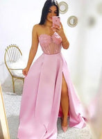 Pink Satin Sweetheart Neck Long Side Slit Prom Dress, S6879