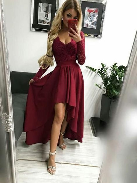 Long Sleeve Appliques Evening Dress, Burgundy Long Sleeve Prom Dress, High Low Party Gown S6694