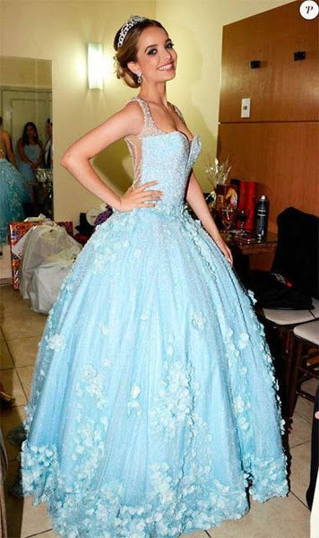 Elegant Tulle Blue Appliques Ball Gown Prom Dress   S11272