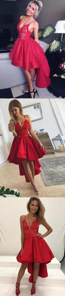 Sexy High Low Red Spaghetti Straps V Neck Homecoming Dresses   S11090