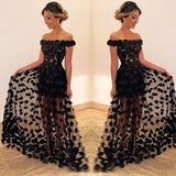 Black Off The Shoulder Long Prom Dress  S11061
