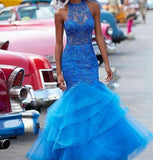 Chic Tulle Halter Neckline Cut-out Mermaid Prom Dress With Beadings S10975