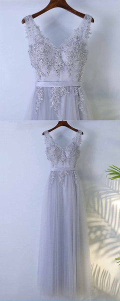 Tulle V neck long beaded senior prom dress with lace appliqué  S7007