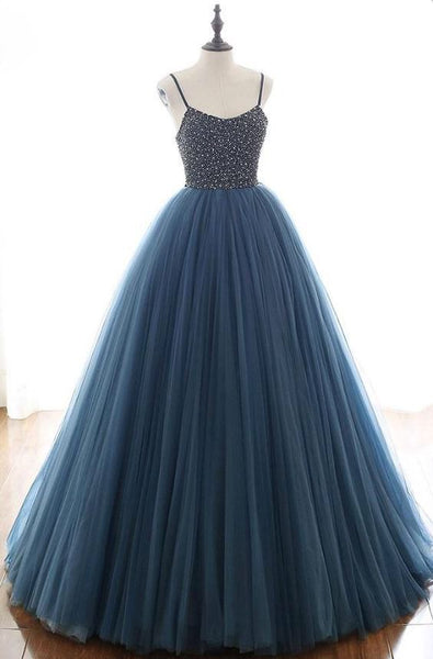 Charming Tulle Spaghetti Straps Beaded Sequins Formal Prom Dresses S11804