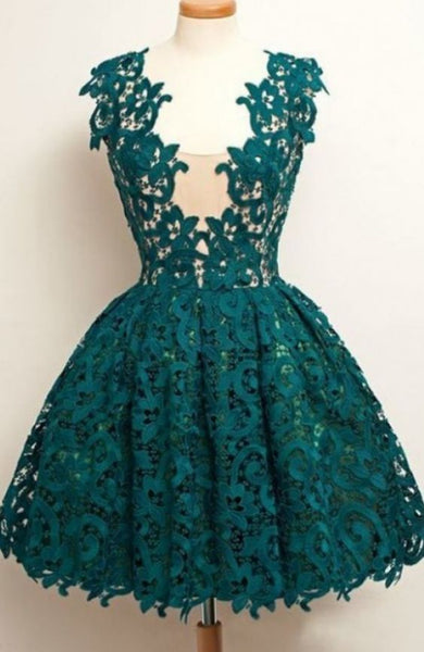 Short Lace Homecoming Dress Sleeveless Short/Mini Lace Appliques Dresses S11878