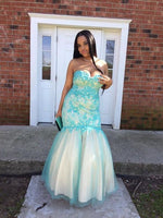 Mermaid Sweetheart Sleeveless Applique Floor-Length Tulle Plus Size Prom Dresses S11469