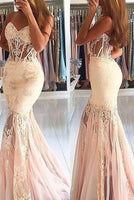 Sexy Sheer Mermaid Sleeveless Sweetheart Tulle Lace Long Prom Dresses S6640