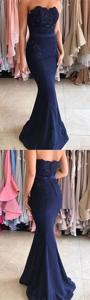 Navy Blue Mermaid Style Sweetheart Long Prom Dress with Sash Beading Appliques S6766