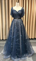 Dark Blue Tulle Long Prom Dress, Blue Tulle Evening Dress  S11906