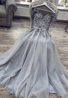 Gray tulle lace long prom dress evening dress  S12140
