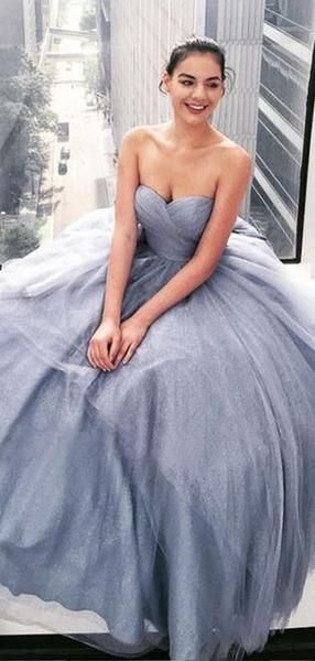 Shiny Grey Sequin Tulle Sweetheart Strapless Prom Dresses S11261