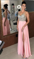 Sparkly A-line Beads Top Pink Long Prom Dress with Slit S12040