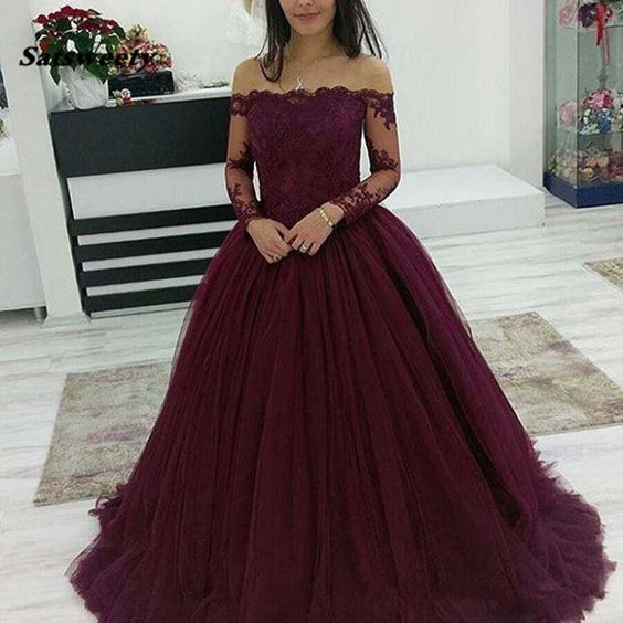 Deep Purple Long Tulle Prom Dresses,Off the Shoulder Applique Ball Gown  S6782