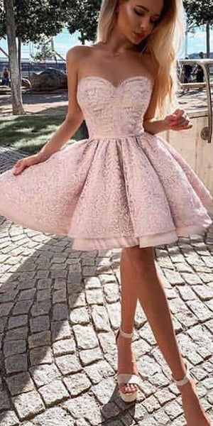 A-line Sweetheart Pink Homecoming Dresses Short Party Dresses  S11498