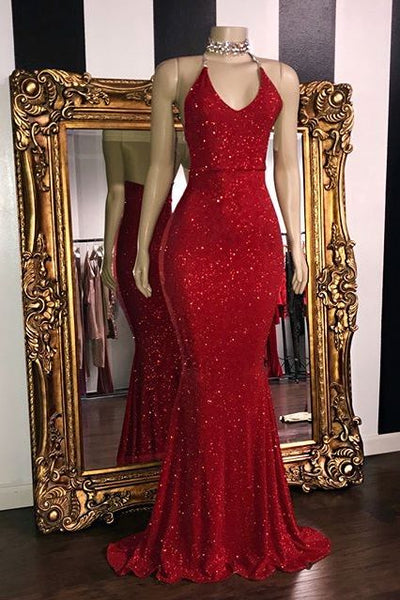 Sexy Sequins Sleeveless Mermaid Prom Dresses S10968