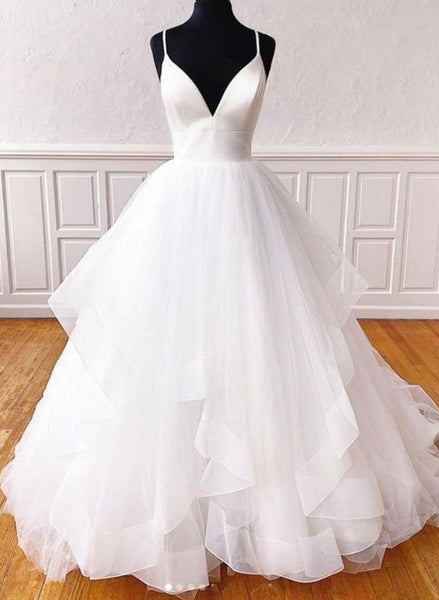 Spark Queen White V Neck Tulle Long Prom Dress White Formal Dress S12101