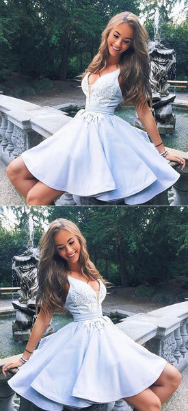 Cute v neck lace short prom dresses  S11002